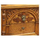 Depression Oak Blind Door China Cabinet Auction Estimate $100-$300 – Located Inside