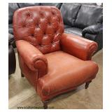 "Leather ""Natuzzi"" Button Tuft Club Chair  Auction Estimate $200-$400 – Located Inside"
