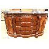 Contemporary Burl Mahogany Marble Top Buffet  Auction Estimate $200-$400 – Located Inside