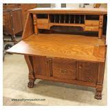 ANTIQUE Quartersawn Oak Slant Front Paw Foot Desk Auction Estimate $200-$400 – Located Inside