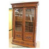 BEAUTIFUL Walnut 2 Door Carved Bookcase with Original Wavy Glass Auction Estimate $800-$1200 – Locat