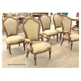 7 Piece Contemporary oval Dining Room Table with Fancy Carved Skirts and Legs with 6 Upholstered Med