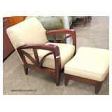 2 Piece Modern Design Arm Chair and Footstool in a Mahogany Frame   Auction Estimate $100-$300 – Loc