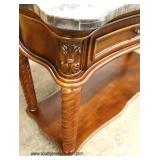 NEW Burl Mahogany Marble Top 2 Drawer Sofa Table   Auction Estimate $100-$300 – Located Inside