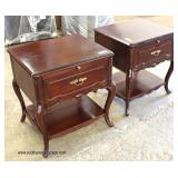 PAIR of VINTAGE SOLID Mahogany 2 Drawer French Style Night Stands   Auction Estimate $100-$200 – Loc