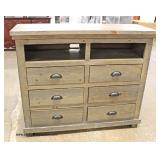 NEW Rustic 6 Drawer SOLID Wood Media Cabinet   Auction Estimate $100-$300 – Located Inside