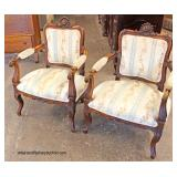 PAIR of French Style Mahogany Frame Arm Chairs   Auction Estimate $100-$200 – Located Inside