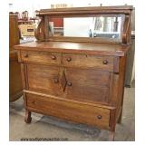 ANTIQUE Oak Empire Sideboard with Mirror Backsplash   Auction Estimate $100-$300 – Located Inside