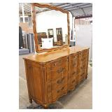 """VINTAGE """"John Widdicomb Furniture"""" SOLID Mahogany French Provincial Style Chest with Mirror   Auctio"""