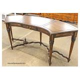Walnut Arched Leather Top Sofa Table   Auction Estimate $100-$200 – Located Inside