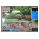 """AWESOME NEW """"Cora Furniture"""" 7 Piece All Season Patio/Dining Table with 6 Wicker Barrel Back Chairs"""