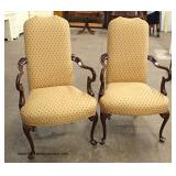 "PAIR of ""Southwood Furniture"" Mahogany Frame Scroll Arm Queen Anne Arm Chairs   Auction Estimate $2"
