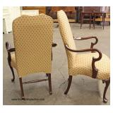 """PAIR of """"Southwood Furniture"""" Mahogany Frame Scroll Arm Queen Anne Arm Chairs   Auction Estimate $2"""