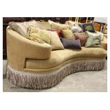 — GREAT Model —   NICE Donatello Schnadig Curve Upholstered Decorator Sofa with Fringe and Throw Pil