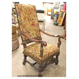 ANTIQUE Walnut Highly Carved Frame Needlepoint Upholstery Stretcher Base Arm Chair   Auction Estimat