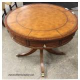 "Mahogany ""Ethan Allen Furniture"" Leather Top Four Drawer Drum Table   Auction Estimate $100-$300 – L"