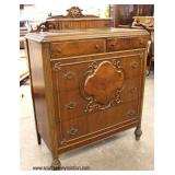 Walnut 2 Tone Depression Carved High Chest and Low Chest with Mirror   Auction Estimate $200-$400 –
