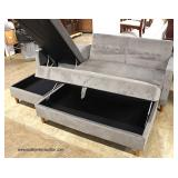 NEW 3 Piece Grey Upholstered Button Tufted Sectional with Lift Top Storage Chaise and Storage Ottoma