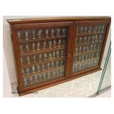 "Mahogany 2 Door Display Case ""Franklin Mint"" The American Military Sculpture Collection with miniatu"