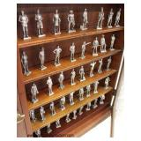 """Mahogany 2 Door Display Case """"Franklin Mint"""" The American Military Sculpture Collection with miniatu"""