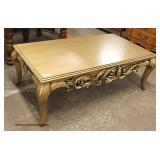 Highly Carved Square Parquet Top Oak Coffee Table   Auction Estimate $100-$300 – Located Inside
