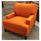 NEW Modern Design Orange Upholstered Club Chair   Auction Estimate $100-$300 – Located Inside