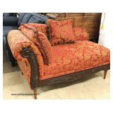 NEW Upholstered Mahogany Frame Chaise Lounge with Decorator Pillows   Auction Estimate $100-$300 – L