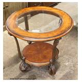2 Piece Burl Mahogany Contemporary Decorator Glass Top and Metal Base 2 Tier Coffee Table and Lamp