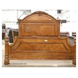 "5 Piece ""Ashley Furniture"" Burl Mahogany Contemporary Carved King Size Bedroom Set  Auction Estimat"