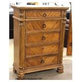"5 Piece ""Ashley Furniture"" Burl Mahogany Contemporary Carved King Size Bedroom Set  Auction Estimat"