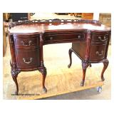 SOLID Mahogany Carved French Style Ladies Vanity with Gallery  Auction Estimate $200-$400 – Located