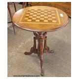 Mahogany Round Chess/Checker Board Top Game Table  Auction Estimate $100-$300 – Located Inside