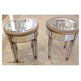 VINTAGE PAIR of Mirrored Round Hollywood Style Lamp Tables  Auction Estimate $100-$300 – Located In
