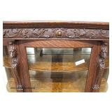 ANTIQUE Oak Claw Feet Lion Head Curve Glass China Cabinet in the Original Finish  Auction Estimate
