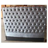 NEW Queen Size Grey Upholstered Button Tufted Headboard  Auction Estimate $200-$400 – Located Insid