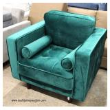 NEW Green Upholstered Modern Design Club Chair with Pillows  Auction Estimate $100-$300 – Located I