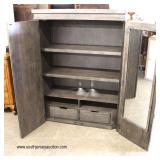 "NEW ""Liberty Furniture"" 2 Door Rustic Style Armoire with Fitted Interior and 2 Drawers  Auction Est"