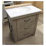 "NEW ""Water Creations"" 30"" Marble Top Rustic Style 3 Drawer Bathroom Vanity with Backsplash  Auction"