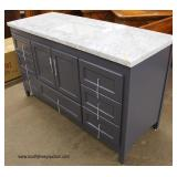"NEW 60"" Marble Top Grey Base Bathroom Vanity  Auction Estimate $300-$600 – Located Inside"