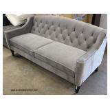 PAIR of NEW Grey Upholstered Button Tufted Contemporary Sofa  Auction Estimate $300-$600 – Located