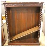 ANTIQUE Oak Open Front Bookcase with Carved Griffins and other Carvings  Auction Estimate $100-$300