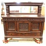 ANTIQUE Quartersawn Oak Gothic Inspired Buffet with Mirror  Auction Estimate $200-$400 – Located In