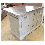 "AWESOME NEW ""Universal Furniture"" Stainless Steel Top Kitchen Island  Auction Estimate $400-$800 –"