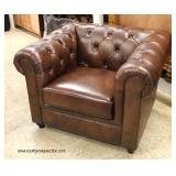 NEW Chesterfield Style Button Tufted Leather Club Chair  Auction Estimate $300-$600 – Located Insid