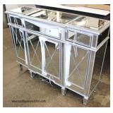NEW NICE All Mirrored Hollywood Style 3 Drawer 4 Door Credenza  Auction Estimate $300-$600 – Locate