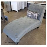 NEW Velour Button Tufted Chaise Lounge with Pillow  Auction Estimate $100-$300 – Located Inside