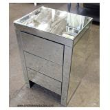NEW Mirrored Hollywood Style 3 Drawer Night Stand  Auction estimate $100-$200 – Located Inside
