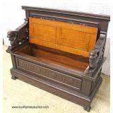 ANTIQUE Highly Carved and Ornate Quartersawn Oak Wing Griffin Lift Top Hall Seat in the Original Fi