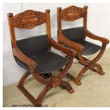 """PAIR of """"X"""" Frame Theater Style Hand Carved Mahogany Chairs  Auction Estimate $300-$600 – Located I"""