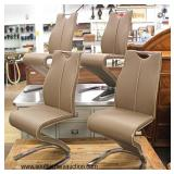 NEW Set of 4 Modern Design Leather Chairs  Auction Estimate $400-$800 – Located Inside